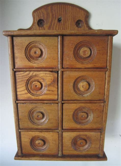 Spice Cabinet Wall Mount Ca 1900 Primitive 8 Drawer Oak Wood Spice Apothecary