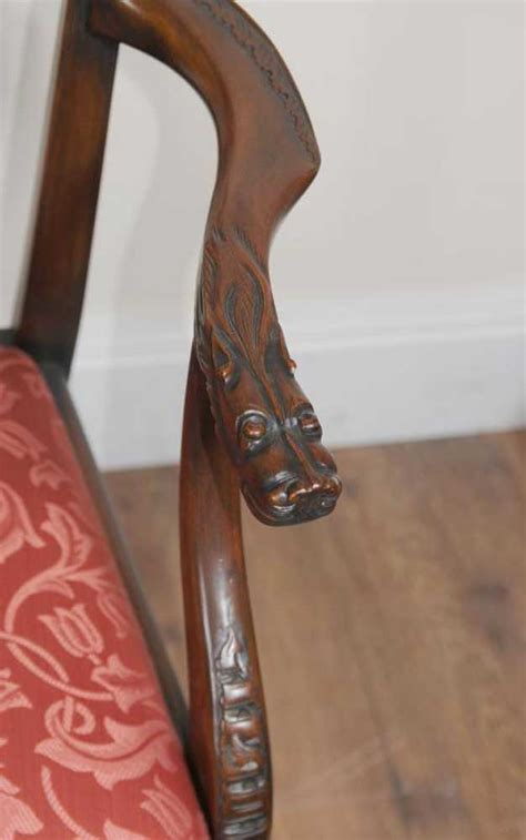 chippendale mahogany dining chairs lions head