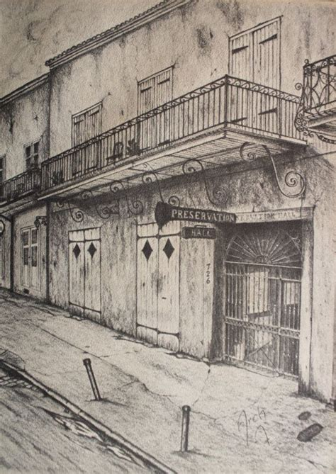 70s Sketches by Vintage New Orleans Archie Boyd Pencil Sketch 70s Print Of