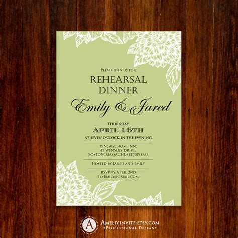 rehearsal dinner invitation template printable unique