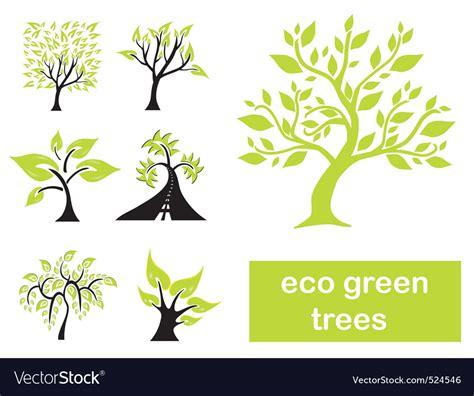 Eco Green Trees Royalty Free Vector Image Vectorstock Green Eco Tree Vector Free