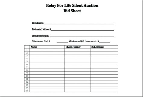 Editable Silent Auction Bid Sheet Template Exles Free Printable Juanbruce Co Excel Auction Template