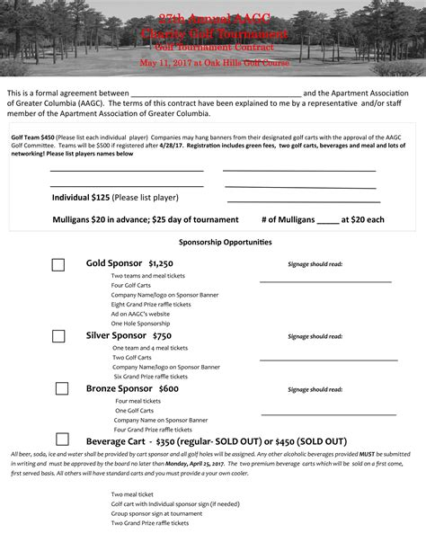 7 Golf Contract Forms Pdf Golf Tournament Contract Template