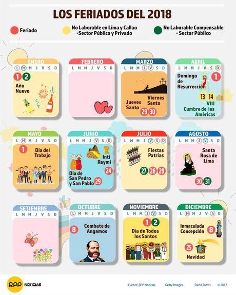 Peru Calendario 2018 Calendario 2018 De Per 250 Con Feriados Para Imprimir Gratis