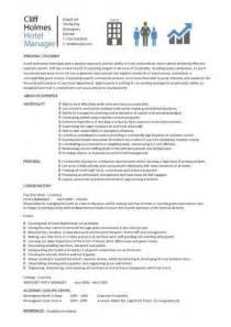 Hotel Manager Cv Template Job Description Cv Example