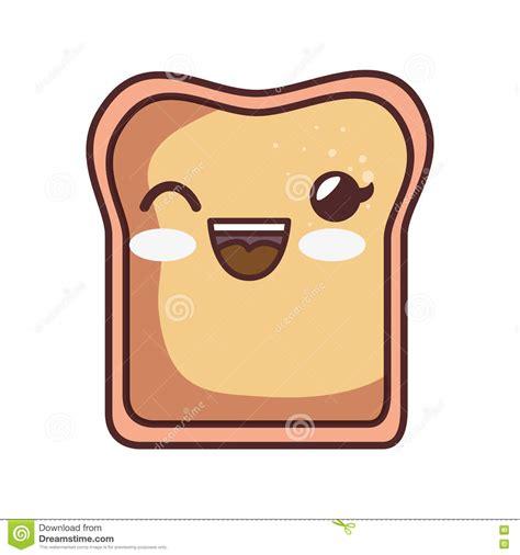 Imagenes De Tostadas Kawaii | icono aislado estilo del kawaii de la tostada del pan