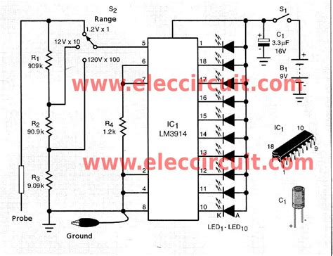 led temperature indicator circuit lm3914 simple led voltmeter circuit using lm3914 eleccircuit