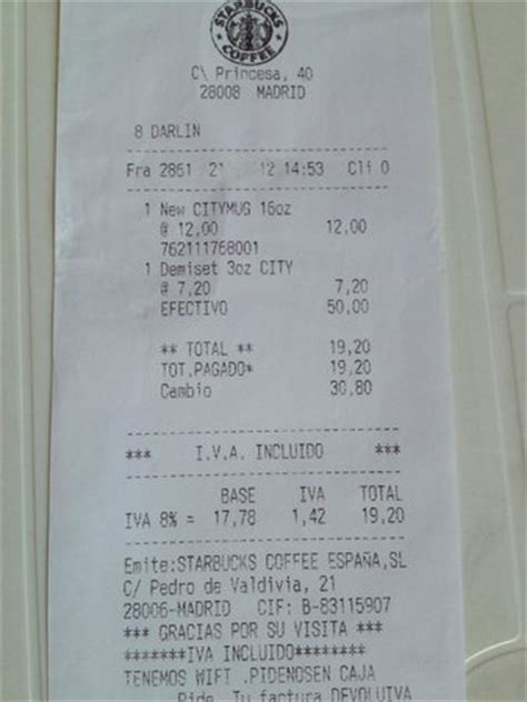 Receipt 1 Picture Of Starbucks Madrid Tripadvisor Starbucks Receipt Template