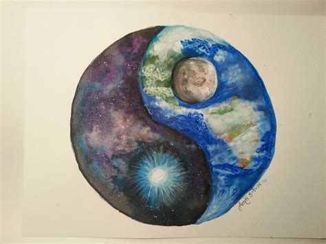 watercolor tattoo yin yang space earth yin yang painted in water color and acrylic
