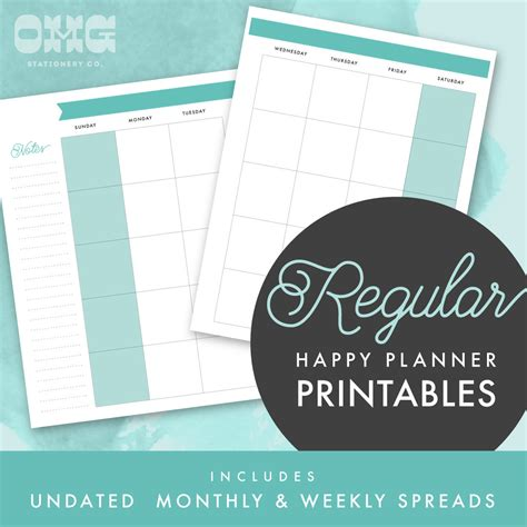 happy planner monthly printable printable regular happy planner undated monthly weekly