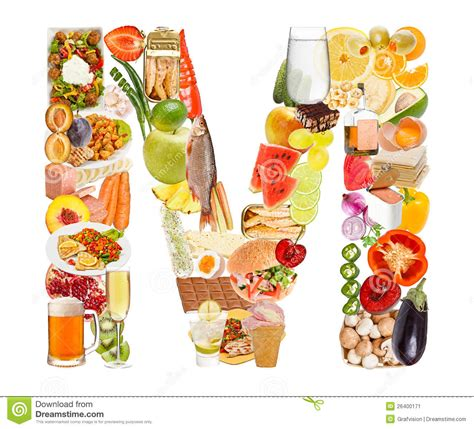 up letter with food letter m made of food stock image image of cherry