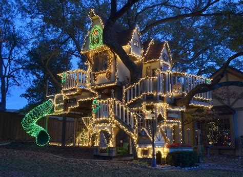 decorated houses awesome tree house with christmas lights kidspace interiors