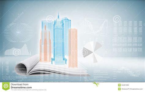background knowledge design hi tech building on blue background stock illustration