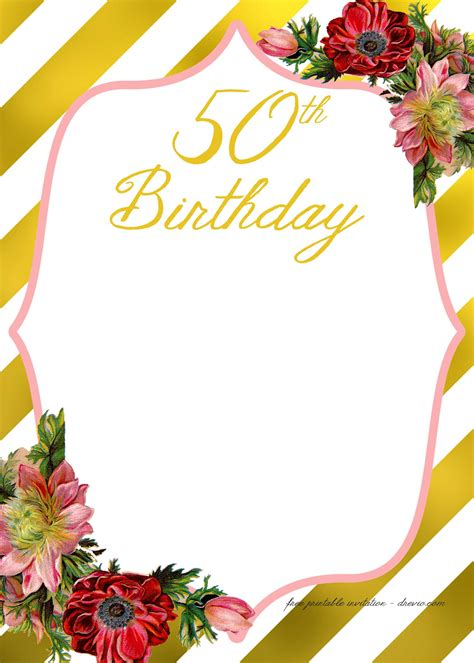 template for 50th birthday invitations free printable free printable birthday invitation template free