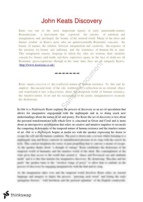 Hsc Discovery Essay Questions by Year 12 Hsc Related Material On Discovery Essay Keats Year 12 Hsc Standard