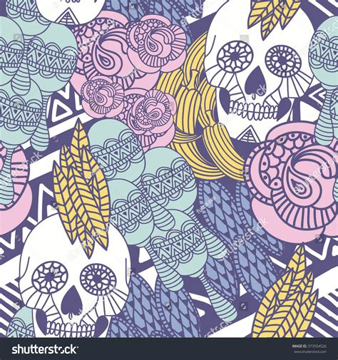seamless pattern tattoo hand drawn tattoo mexican skull floral stock vector