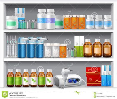 Medicine Shelf by Pharmacy Shelves Realistic Stock Vector Image Of Poison