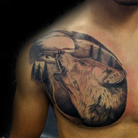wolf howling at moon tattoo wolf moon chest