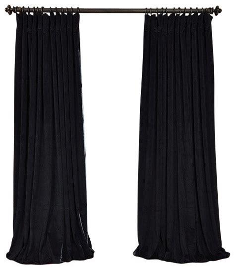 black velvet drapes signature black doublewide blackout velvet curtain