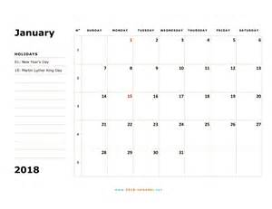 Free Printable 2018 Monthly Calendar Printable 2018 Calendar