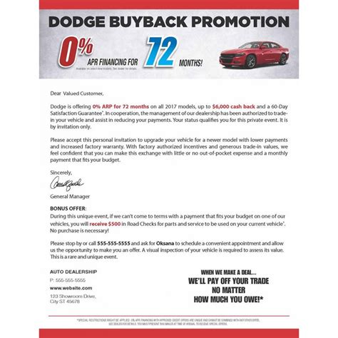 8 5 x 11 dodge auto direct mail sle with business card