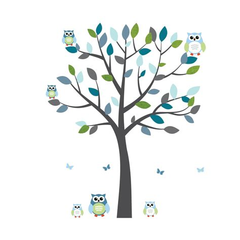 Jungle Tree Wall Stickers gray and blue owl stickers with large tree decal for kids