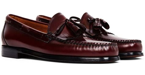 gh bass loafers uk g h bass co weejuns tassle loafers burgundy for lyst