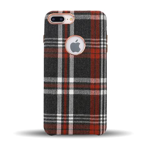 wholesale iphone     checkered plaid fabric armor pu leather case red