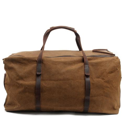 Travel Trace Bag 1 2016 rushed solid khaki travel bags vintage wax printing canvas leather luggage duffel tote