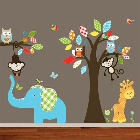 wall stickers jungle theme giraffe elephant monkey nursery wall decal sticker vinyl tree and branch jungle decals baby