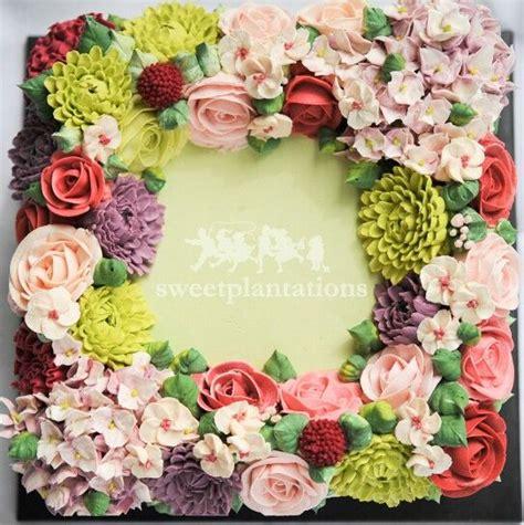 Wreath Style Korean Buttercream square wreath buttercream flower cake cake butter flower cakes and square