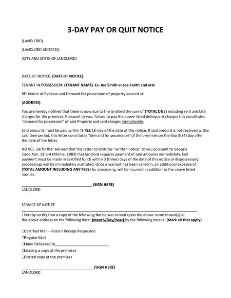 pay or quit notice template best photos of eviction notice letter in ga ohio