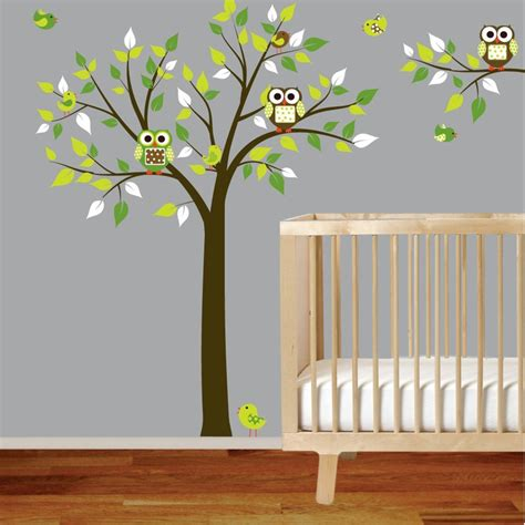 Tree Branch Wall Decal Nursery Vinyl Wall Decal Stickers Tree Branch Set With Owls Birds Boy Nursery Green Trees