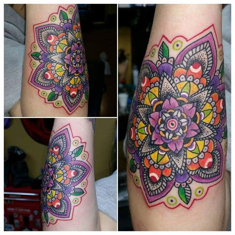 color mandala tattoo brown certified artist