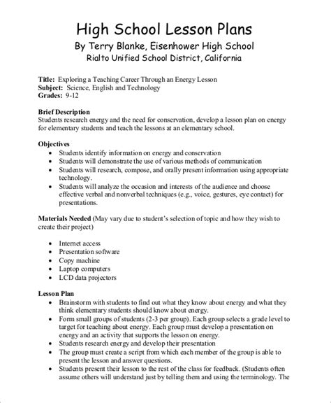 lesson plan templates for high school sle lesson plan 9 exles in word pdf