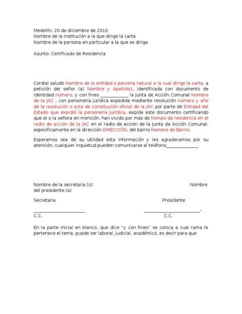 carta de retiro junta de accion comunal modelo de certificado de residencia jac
