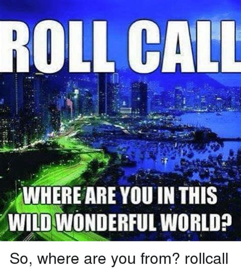 Where Are You Meme - roll call where are youin this wildwonderful world so