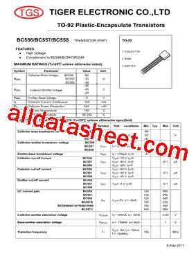 bc557 transistor working pdf bc557 datasheet pdf tiger electronic co ltd