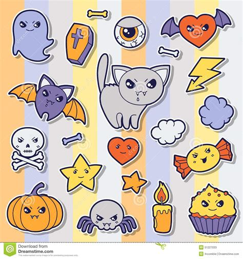 sticker doodle draw set of kawaii sticker doodles and stock