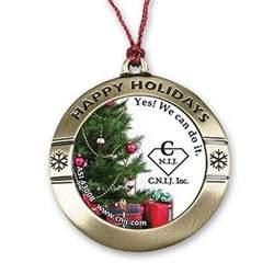 round happy holiday custom photo art christmas ornament