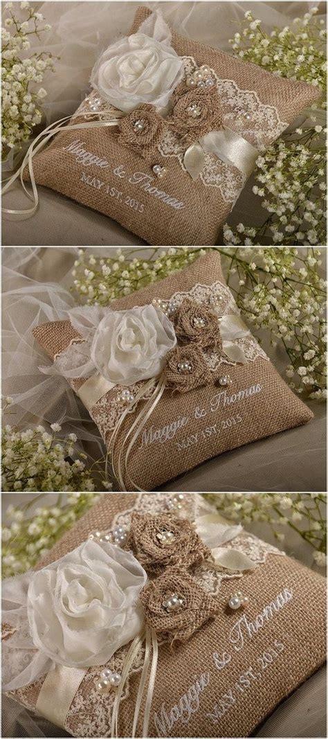 rustic country burlap wedding ring bearer pillow