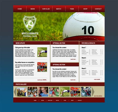 template design myclubmate web design for sports clubs