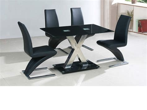 Black Glass Table And 4 Chairs by Medium 120cm Black Glass Dining Table And 4 Chairs