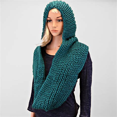 knitted hooded scarf hooded teal knitted infinity scarf on luulla
