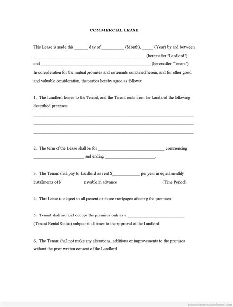 printable commercial lease agreement free commercial lease agreement forms to print template