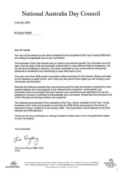 Business Letter Address Format Australia australian of the year nomination award for pastor