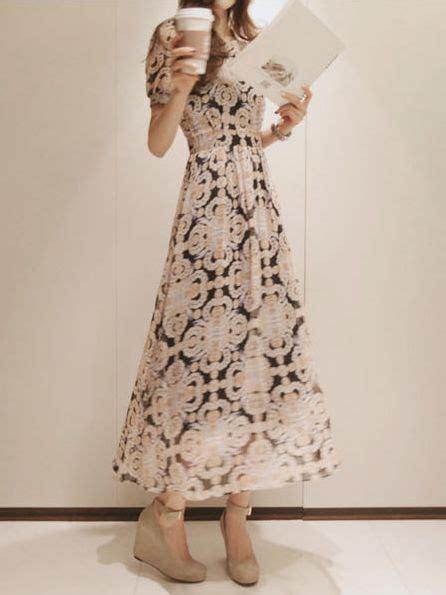 Dress Wanita Sleeve Chiffon Vintage Dress Birumr483 summer retro crown sleeve maxi dress