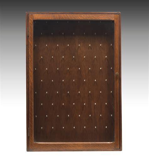 wall showcase 60 45 pd1749 quarter sawn oak pocket watch display case 09 06 12 sold