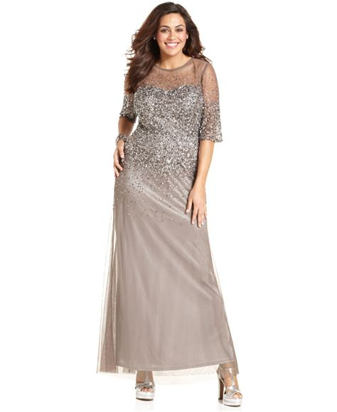 beaded dresses plus size papell plus size sleeve beaded gown in gray