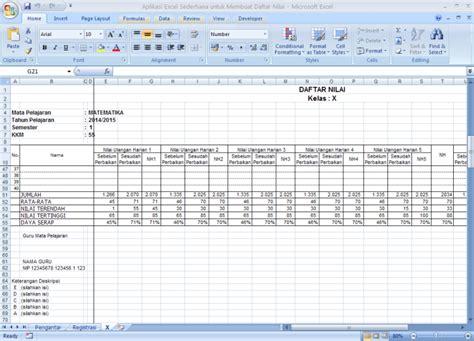 membuat database nilai siswa dengan excel aplikasi sederhana untuk membuat daftar nilai siswa dengan